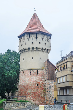rumanian: SIBIU, ROMANIA - AUGUST 10, 2016: Detail of castel situated near downtown of the city Editorial