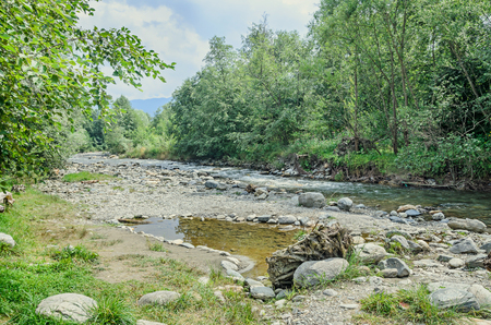 county side: River side, Europe, Romania, Sibiu County. Rocks, trees and water.