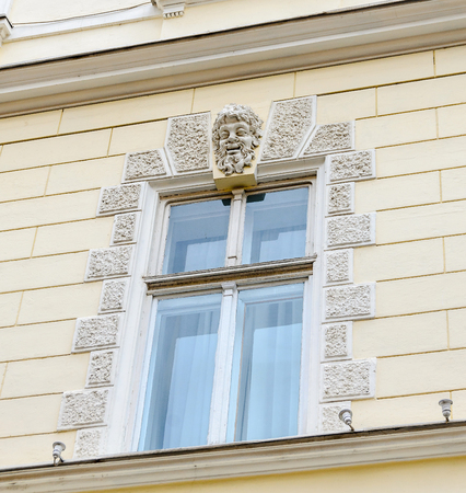 rumanian: SIBIU, ROMANIA - AUGUST 10, 2016: Details of old buildings near downtown