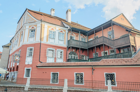 rumanian: SIBIU, ROMANIA - AUGUST 10, 2016: The House Luxembourg (Casa Luxemburg)