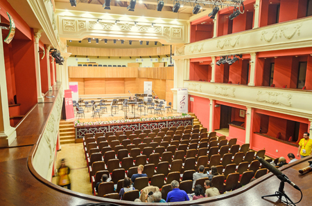 rumanian: SIBIU, ROMANIA - AUGUST 10, 2016: Detail of Philharmonic, indoor. Editorial