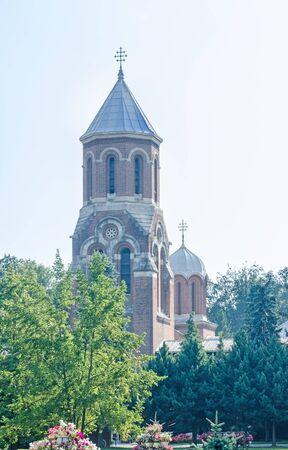 CURTEA DE ARGES, ROMANIA - AUGUST 9, 2016: The monastery Curtea de Arges from Romania, orthodox church, detail of the Chapel