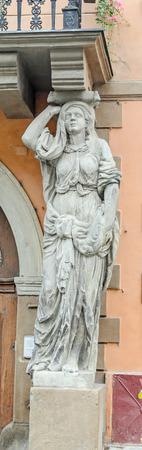 rumanian: SIBIU, ROMANIA - AUGUST 10, 2016: The House with Caryatides (Casa cu Cariatide).