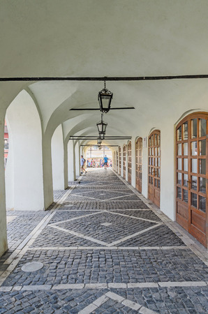rumanian: SIBIU, ROMANIA - AUGUST 10, 2016: Street near downtown of the city with vintage lamps and old paving Editorial