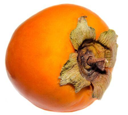 Orange Persimmon (Kaki, Diospyros kaki) fruit, close up, isolated, white background. Family Ebenaceae.