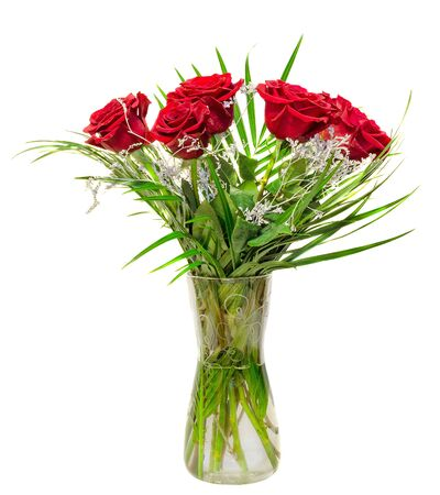 floral arrangement: Red roses flowers in a floral arrangement, bouquet, transparent vase, close up, isolated