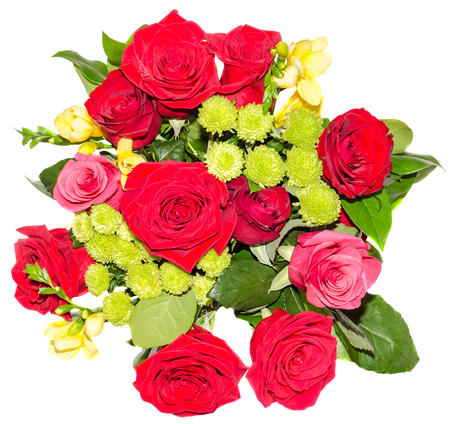 floral arrangement: Red roses flowers in a floral arrangement, bouquet, close up, isolated Stock Photo