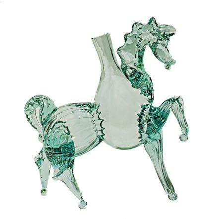 Transparent horse bottle glass, close up, isolated, white background. Stock Photo