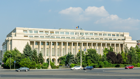 BUCHAREST, ROMANIA - AUGUST 10, 2014: The Victoria Palace. summer time