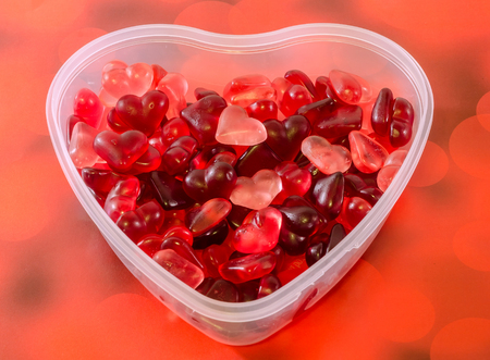 Transparent Heart Shape Vase Bowl Filled With Colored Red