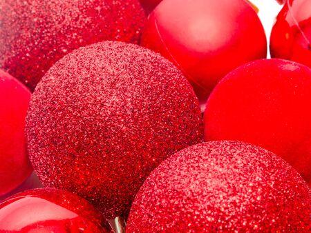 Red christmas shinny globes, christmas tree ornaments