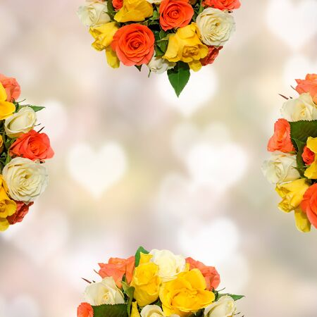 bunch of hearts: White, orange and yellow rose flowers, details, close up. Valentines day roses.