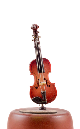 Musical box violin, close up, isolated Stock Photo