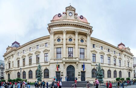 BUCHAREST, ROMANIA - MAY 25, 2014: The National Bank of Romania (BNR) building, palace designed by Albert Galleron and Cassien Bernard. Editorial