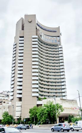 university fountain: BUCHAREST, ROMANIA - MAY 25, 2014: The Intercontinental Hotel Editorial