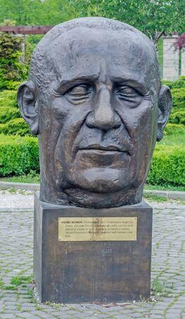 BUCHAREST, ROMANIA - MAY 10, 2014. The Public Garden Herastrau. The Statue of Pierre Werner. Editorial