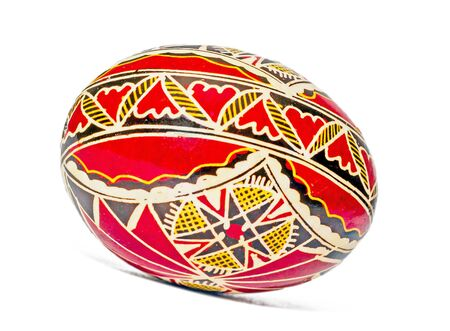 Romanian traditional colored easter egg close up