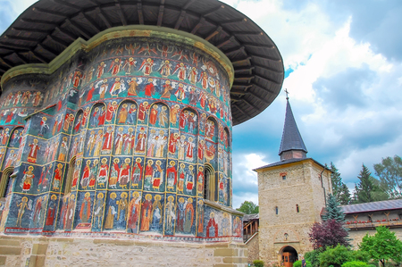 Romania, Moldavia 5th July 2010. Visiting the Monastery Sucevita.