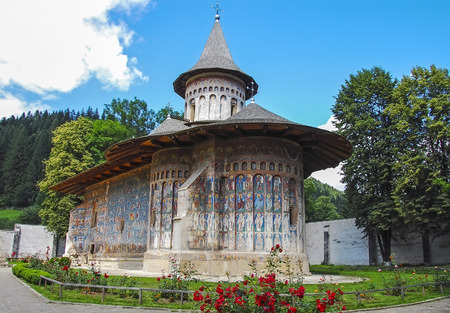 MOLDOVA, ROMANIA - JULY 4,  2014. Visiting The Monastery Voronet, Region Suceava. Editorial