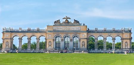schoenbrunn: AUSTRIA, VIENNA - MAY 8, 2012. Visiting the Schonbrunn Palace, Gardens, view to Gloriette.