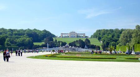 gloriette: AUSTRIA, VIENNA - MAY 8, 2012. Visiting the Schonbrunn Palace, Gardens, view to Gloriette.
