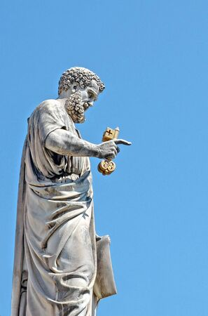 Rome, Italy - July 12, 2013. The Statue of Saint Peter with key from Vatican City Square. Editorial