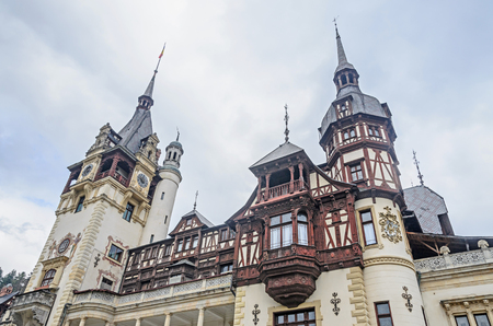The Peles Castle from Sinaia Romania, Carpathian Mountains.