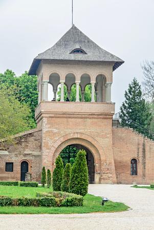 constantin: BUCHAREST, ROMANIA - APRIL 30, 2017: The Palace Mogosoaia near Bucharest, Romania, courtyard detail. Build by Constantin Brancoveanu. Editorial