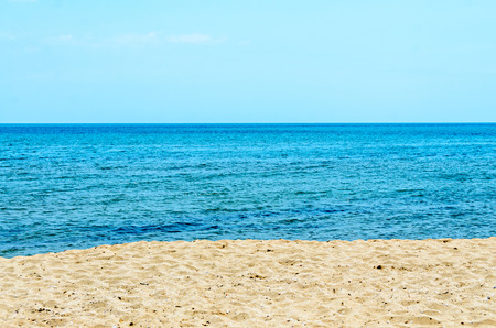 balchik: The Black Sea beach with golden sands, blue fresh clear water, bulgarian shore. Stock Photo