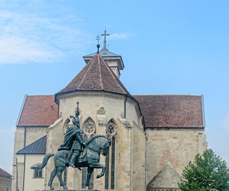 ALBA IULIA, ROMANIA - AUGUST 6, 2017: Citadel fortress Alba Carolina, the statue of Mihai Viteazu.