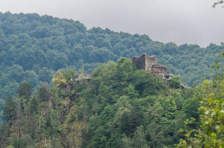 Poenari Castle, known as Poenari Citadel, green mountains