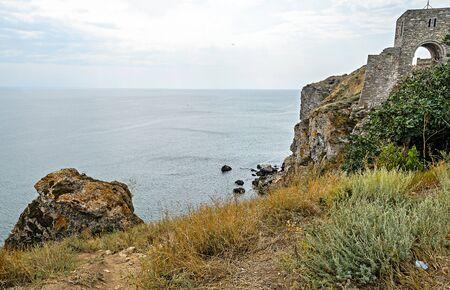 Green Thracian cliffs, Kaliakra Lighthouse, Black sea water, bulgarian coastline. Zdjęcie Seryjne