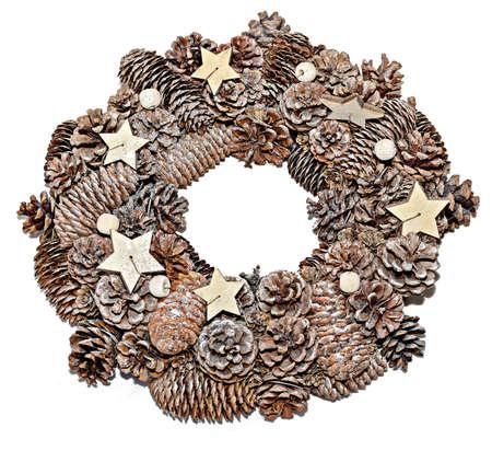 Conifer christmas circle decoration with star shape candles Banco de Imagens