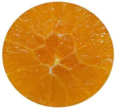 Half orange jucy fruit, close up, white background. Banco de Imagens