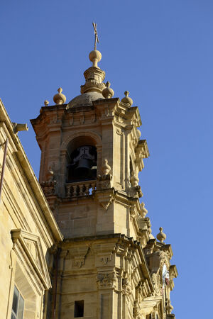 the campanile: saint Mary church campanile, San Sebastian, Spain. Blue sky Stock Photo