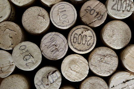 repetitive: vertically arrenged wine corks. repetitive pattern