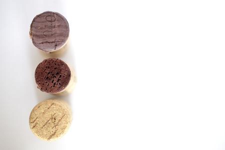 terroir: wine corks, on white background