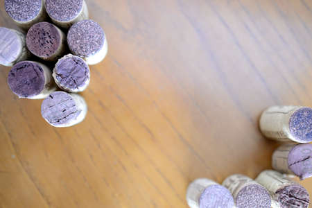 terroir: wine corks, on wood. Background Stock Photo