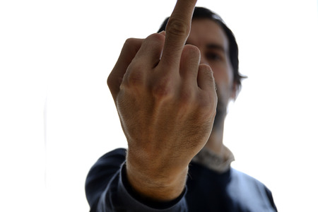 provocation: man doing a middle finger sign