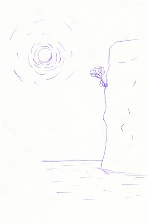 blue pen: sketch of a cliff with a blue pen ball Stock Photo