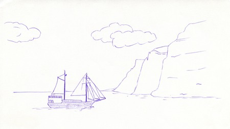 blue pen: sketch of a sailing boat with a blue pen ball Stock Photo
