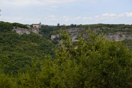 other side of: Rocamadour castle from the other side of the valley. France Editorial