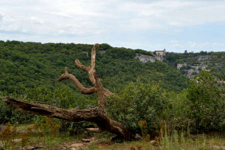 the crags: Rocamadour castle from the other side of the valley. France Editorial