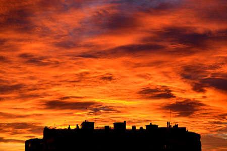 skyscapes: Stunning sky over a building, at twilight