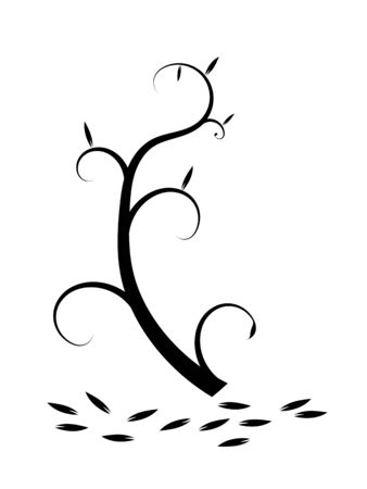falling leaves: black and white flourish with falling leaves Illustration