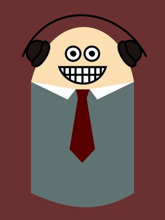 color consultant: happy businessman with headphones, funny Illustration