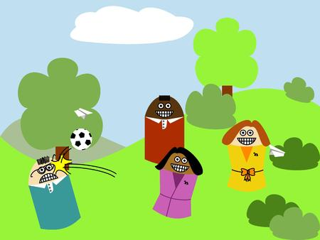 multi racial group: kids playing with a ball outside. Multi racial group of boys and girls Illustration