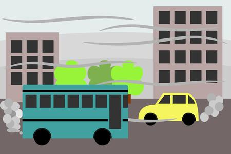 polluted city, with polluting vehicles Illustration