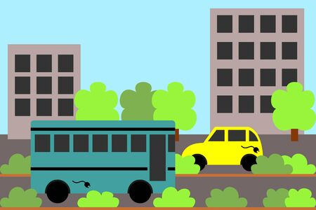 electric vehicles: unpolluted city, with electric vehicles Illustration