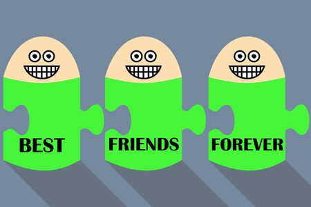 three persons: Best friends forever. three persons happy to be together Illustration